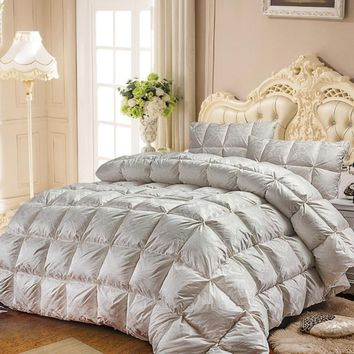 white Goose Down Quilt luxury quilting Duvet winter Comforter solid color linens Twin/Queen/King Size stiching Blanket