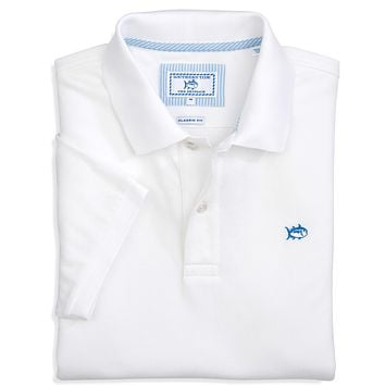 Short Sleeve Skipjack Polo in Classic White by Southern Tide