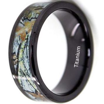 CERTIFIED 8mm Black Titanium Ring with White Camouflage Snow Camo Wedding Rings