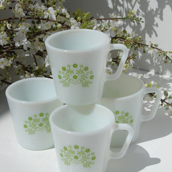 4 Vintage White Pyrex Coffee Mugs Honeydew Pattern,#tea#coffee#pyrex