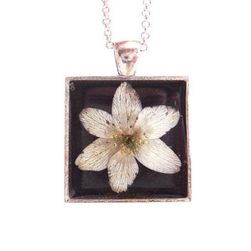 Floral necklace, Real flower necklace, Spring wood anemone flower, Pressed flower jewelry, Botanical, Nature inspired necklace, White flower