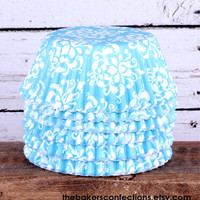 Elegant Aqua Damask Cupcake Liners by thebakersconfections on Etsy