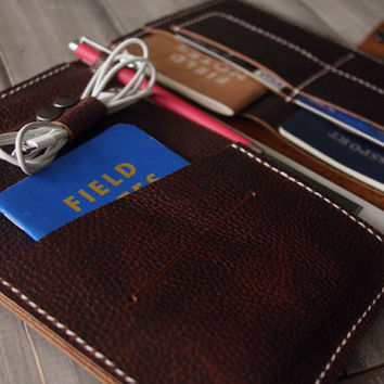 Legend - iPad Sleeve Travelmate leather Portfolio, Earphone Organizer, Notebook Cover, Hand stitched from Luxury Cowhide V12