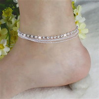 Multi Row Crystal Chain Anklet
