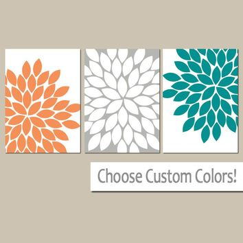 Orange Gray Teal Wall Art, Canvas or Prints Bathroom Decor, Bedroom Pictures, Flower Wall Art, Flower Burst Dahlia Set of 3 Home Decor