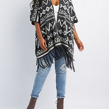 Plus Size Geometric Fringed Poncho Cardigan