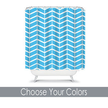 Chevron Shower Curtain Monogram Herringbone CUSTOM You Choose Colors Turquoise Blue White Pattern Bathroom Bath Polyester Made in the USA