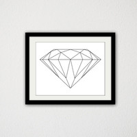 "Black Diamond. Simple. Minimalist. Black and White. Home Decor. Gift Idea. 8.5x11"" Print."