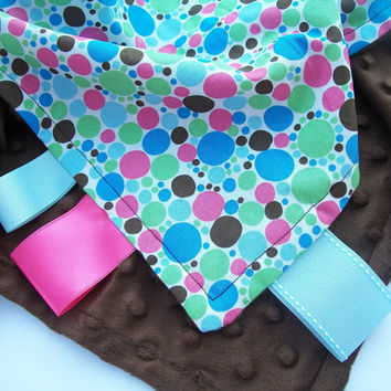 Polka Dots with Chocolate Brown Minky Taggie Security Blanket