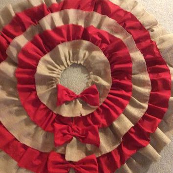 Large Ruffle Burlap and Red Christmas Tree Skirt / 50 inch Skirt with Lace Bows / Layered Christmas Tree Skirt / Rustic Chic FREE SHIPPING