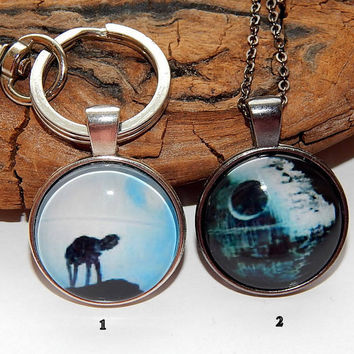 Death Star pendant necklace jewelry, Star Wars pendant necklace, Death Star keychain, galactic superweapon Star Wars Galactic Empire jewelry
