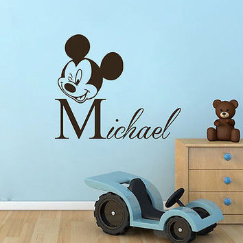 Boy Decals Personalized Name Wall Decal Mickey Mouse Nursery Room Decor DS409