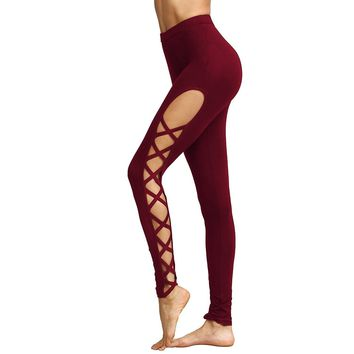 Women's Sexy Red High Waist Lace Up Ballet Fashion Yoga Leggings