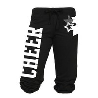 Juniors Cheer Capri Sweats with Rhinestone Star (Medium)