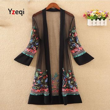 Yzeqi Women Floral Embroidered Long Jacket Summer Cardigan Casual Thin Coats Crochet Kimono Ladies Vintage Beach White Outerwear