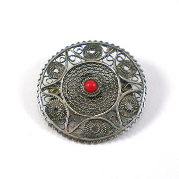 Sterling Coral Filligree Brooch - Vintage Sterling Silver Filigree Red Coral Geometric Round Brooch Pin