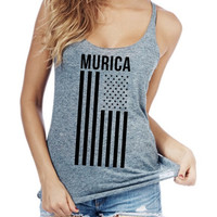 Murica flag Women racerback tank top made in usa
