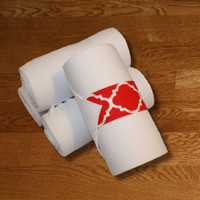Equine Standing Wraps/White Standing Wraps w/Red Quatrefoil Velcro Straps by Brax Designs