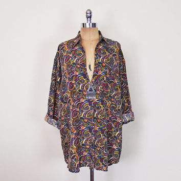 Vintage 80s 90s Paisley Shirt Blouse Top Tunic Paisley Print Shirt 100% Silk Shirt Button Up Shirt Slouchy Oversize Shirt Grunge S M L Xl