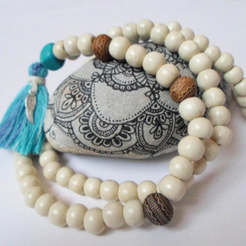 White Wooden Yoga Mala Necklace 8 mm, Japa Mala Blue Tassel Necklace, Mantra Meditation Mala Jewelry, 108 Beads Mala Necklace, Boho Necklace