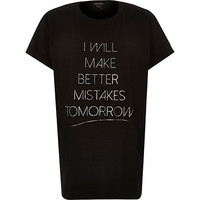River Island Womens Black better mistakes oversized t-shirt