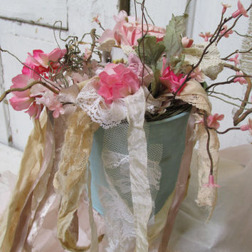 Shabby chic aqua pail table decor filled with pink flowers, roses, tea cup home accent piece anita spero