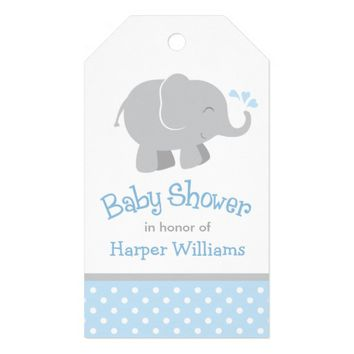 Baby Shower Favor Tags | Elephant Blue Gray Pack Of Gift Tags