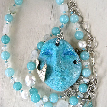 Coupon Sale Sea Goddess Necklace with Aqua Amazonite Pearl and Moonstone Handmade Pottery Shard Face with Dangles Ocean Jewelry