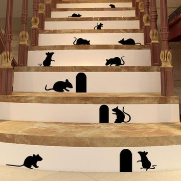 Hot Sale 2016 wall stickers Rat Hole Floor Stair Stickers Art Vinyl Home Decor posters adesivo de parede XT