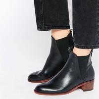 H by Hudson Compound Black Leather Block Heel Ankle Boots
