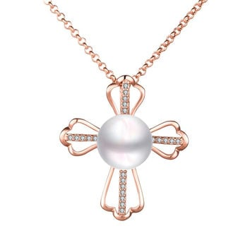 Petite Rose Gold Plated Cultured Pearl Cross Necklace