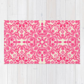 Hot Pink & Soft Cream Folk Art Pattern Area & Throw Rug by micklyn