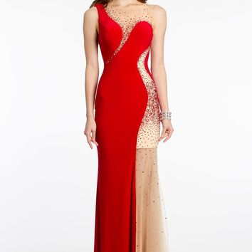 One Shoulder Beaded Illusion Dress
