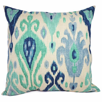 Two Ikat Pillow Covers - Blue and Green Ikat Decorative Pillows - 18 x 18 Inch Throw Pillow Cushion Cover - Ikat Pillow Cover
