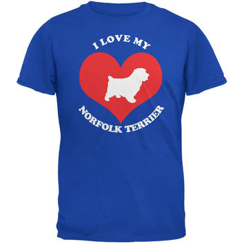 Valentines I Love My Norfolk Terrier Royal Adult T-Shirt