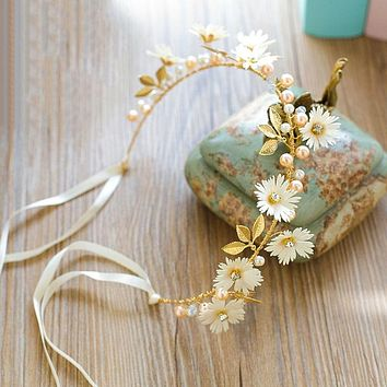 Ribbon Headband Pearl Gold Leaf Hairbands