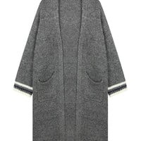 Dark Grey Linen Knitted Cardigan