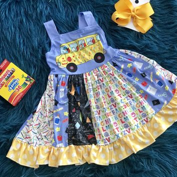 Back To School ABC School Bus Fun Sleeveless Dress