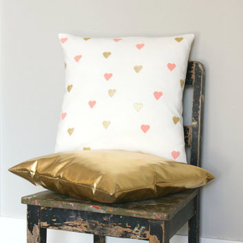 Peach & Gold Throw Pillow Cover Set, Cushion Cover Combo