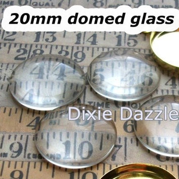 Photo charm supplies 100 pcs 20mm, 3/4 inch Clear Domed Glass Cabochons, flat back glass inserts for cufflinks, earrings, magnets, keyrings