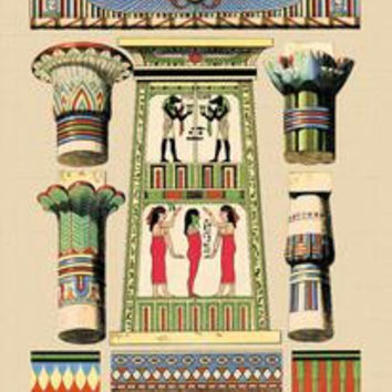 Egyptian Ornamental Architecture: Fine art Giclee canvas print (20 x 30)
