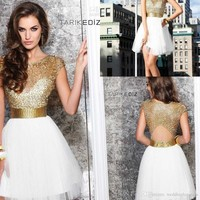 New 2015 Sexy Short Prom Dresses Gold Beads Tarik Ediz Party Dresses College Junior Homecoming Dresses Graduation Dresses Gowns for Cocktail from weddingloveyou, $111.48 | DHgate Mobile