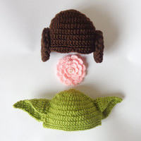 Star Wars Hat Set - Princess Leia And Yoda Crocheted Hat For Girl And Boy With Big Flower Newborn to Adult Photo Prop Halloween / Cosplay