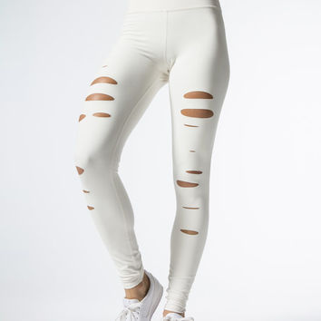 High-waist Ripped Warrior Leggings in Pristine