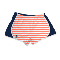 Coral White Stripe with Navy Jersey Shorts by Lily Grace