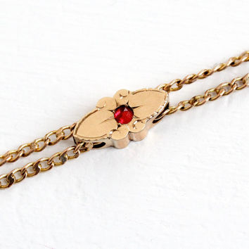 Antique 10k Rose Gold Filled Simulated Ruby Slide Charm Necklace - Victorian Long Layered Fob Pocket Watch Chain Jewelry