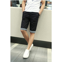 FS Hot 2016 Men Shorts Plaid Ruched Casual Dress Cotton Slim Fit Shorts