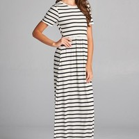 Short Sleeve Maxi Dress - Ivory and Black Stripes