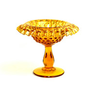 Fenton Amber Hobnail Glass Compote Dish - Gorgeous Ruffle Edge Pedestal Style Bowl, Signed - Vintage Home or Wedding Decor