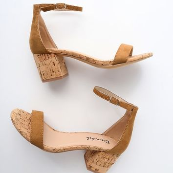 Brooke Tan Cork Ankle Strap Heels